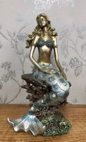 Beautiful Bronzed Effect  Mermaid Perched on Rock Glittery Ornament